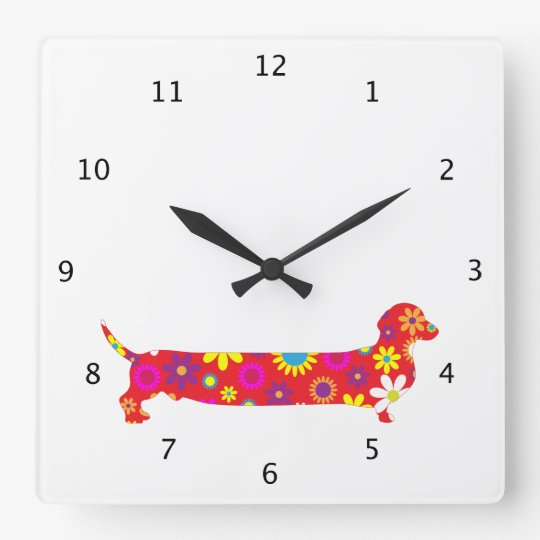 Funky floral retro Dachshund dog funny cartoon Square
