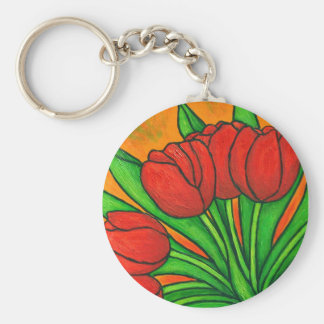 Funky Floral Tulip Key Chain