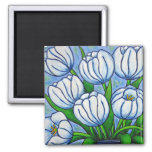 Funky Floral - White Tulip Magnet