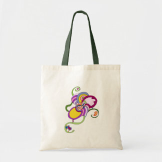 Funky Flower Abstract Illustration Canvas Bag