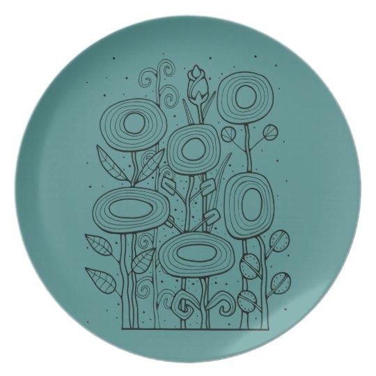 Funky Flower Garden Line Art Design Plate