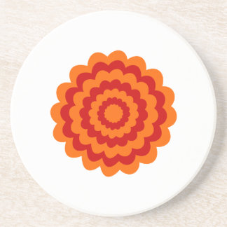 Funky Flower in Orange and Red. Coaster