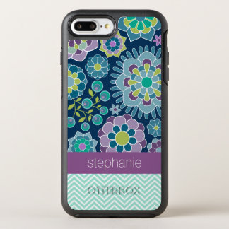 Funky Flowers and Chevrons - Custom Name OtterBox Symmetry iPhone 8 Plus/7 Plus Case
