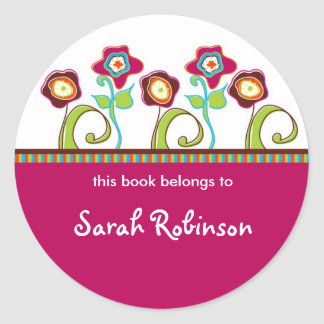 Funky Flowers Book Labels Round Sticker