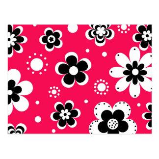 Funky Flowers in Hot Pink Postcard