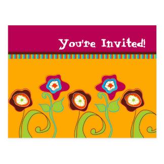 Funky Flowers Invitation Postcards