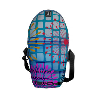 Funky Flowers Light Rays Abstract Design Courier Bags