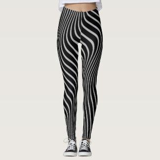 Funky, Fractal Distorted Wavy Black/Gray Stripes Leggings