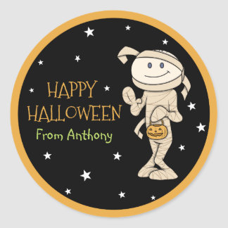 Funky Friends Personalized Mummy Halloween Sticker