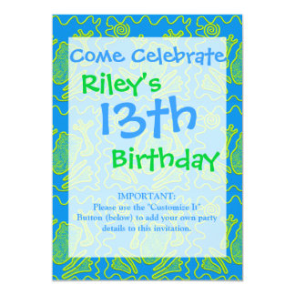Funky Frog Blue Green Toad Kids Doodle Art 13 Cm X 18 Cm Invitation Card