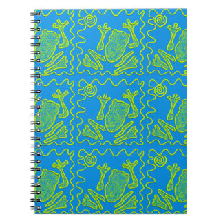 Funky Frog Blue Green Toad Kids Doodle Art Notebooks