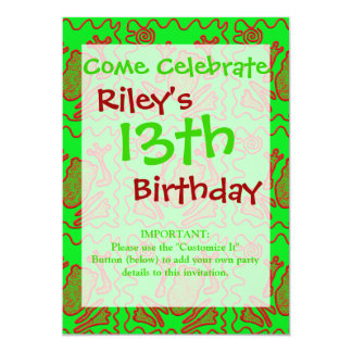 Funky Frog Lime Green Red Toad Kids Doodle Art 13 Cm X 18 Cm Invitation Card
