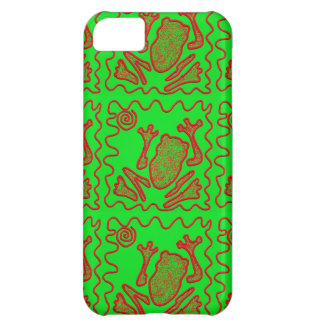 Funky Frog Lime Green Red Toad Kids Doodle Art iPhone 5C Case