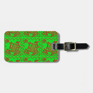 Funky Frog Lime Green Red Toad Kids Doodle Art Luggage Tag