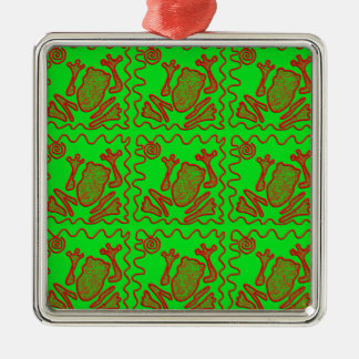 Funky Frog Lime Green Red Toad Kids Doodle Art Silver-Colored Square Decoration