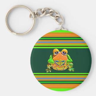 Funky Frog Orange Green Striped Novelty Gifts Key Chain