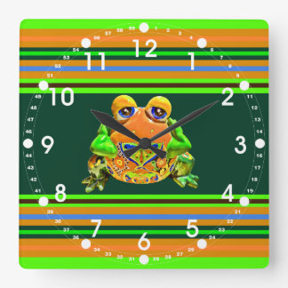 Funky Frog Orange Green Striped Novelty Gifts Square Wall Clock