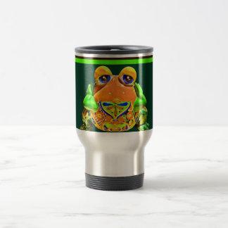Funky Frog Orange Green Striped Novelty Gifts Stainless Steel Travel Mug