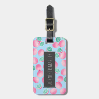 Funky Fun Lemons in Pink and Teal Luggage Tag