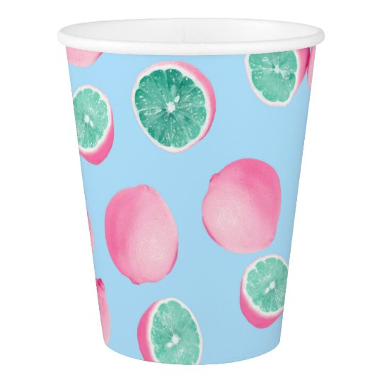 Funky Fun Lemons in Pink and Teal Paper