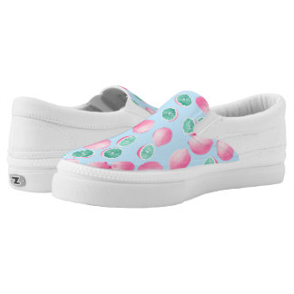 Funky Fun Lemons in Pink and Teal Slip-On Shoes