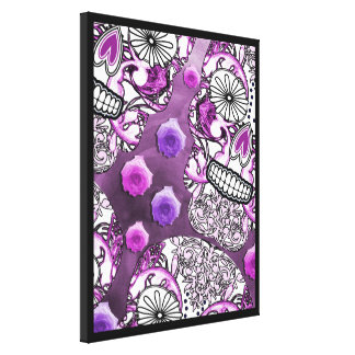 Funky Fun Purple Sugar Skulls and Roses Canvas Print