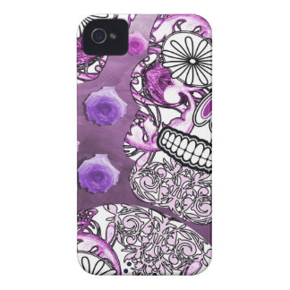 Funky Fun Purple Sugar Skulls and Roses iPhone 4 Cover