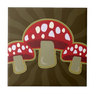 Funky Fungi Mushrooms Small Square Tile