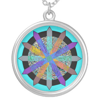 Funky geometric multi-colored modern design silver plated necklace