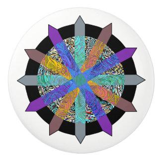 Funky geometric multi-colored modern door knob