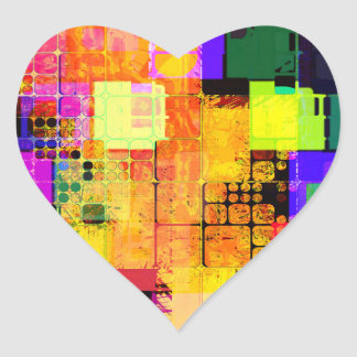 Funky Geometric Multicolored Design Heart Sticker