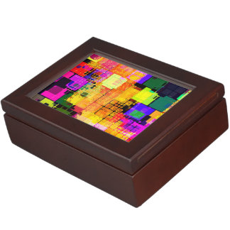 Funky Geometric Multicolored Design Keepsake Box