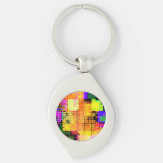Funky Geometric Multicolored Design Key Chains