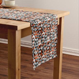 Funky Geometric Orange Black White Mix Pattern Short Table Runner