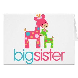 Funky Giraffe Big Sister Tshirt Card