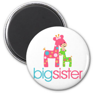 Funky Giraffe Big Sister Tshirt Fridge Magnets