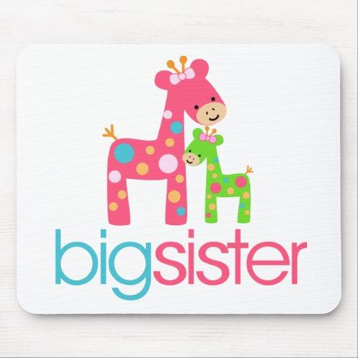 Funky Giraffe Big Sister Tshirt Mouse Pad