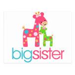Funky Giraffe Big Sister Tshirt Postcards