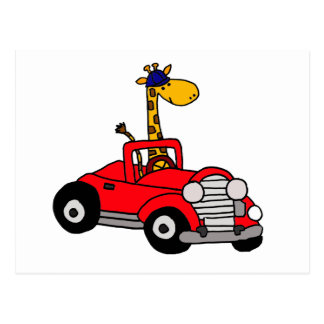 Funky Giraffe Driving Red Convertible Postcard