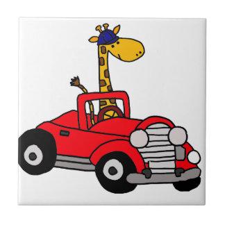 Funky Giraffe Driving Red Convertible Tile