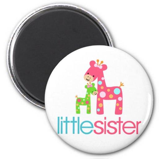 Funky Giraffe Little Sister tshirt Refrigerator Magnets