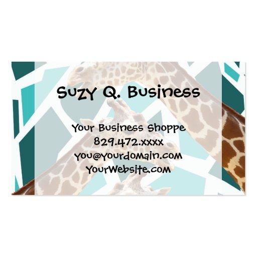 Funky Giraffe Print Teal Blue Wild Animal Pattern Business Card Template