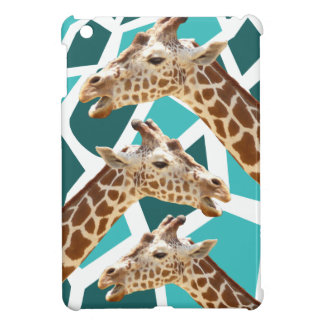 Funky Giraffe Print Teal Blue Wild Animal Pattern Cover For The iPad Mini