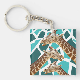 Funky Giraffe Print Teal Blue Wild Animal Pattern Double-Sided Square Acrylic Key Ring