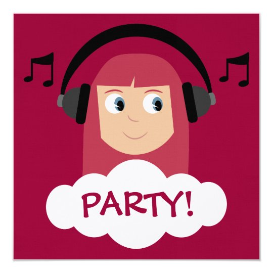 Funky Girl DJ With Headphones Red Custom Party Card