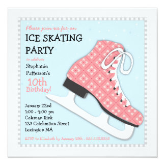 Funky Girl Ice Skating Birthday Party Card