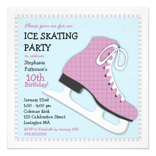 Funky Girl Ice Skating Birthday Party Invitation