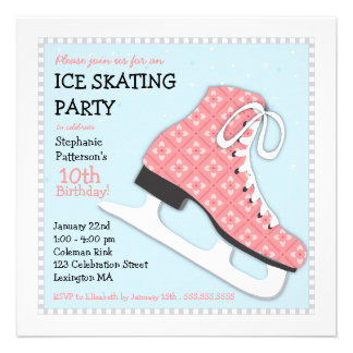 Funky Girl Ice Skating Birthday Party Personalized Invitations