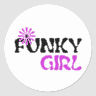 funky girl round sticker
