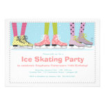 Funky Girls Ice Skating Birthday Party Custom Invitations